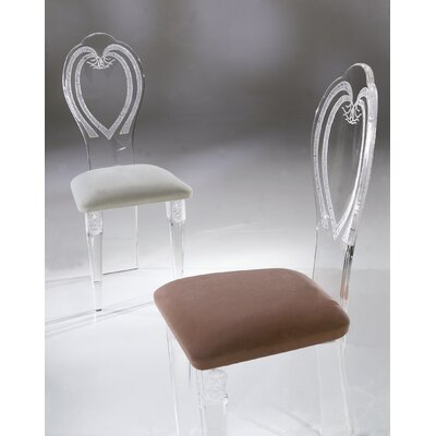 Classic Acrylic Side Chair Upholstery: Brown