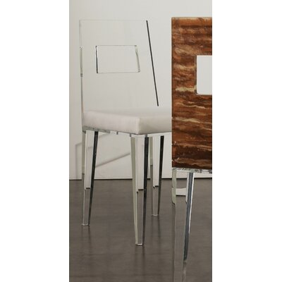 Contempo Acrylic Side Chair (Set of 4) Upholstery: Moss, Finish: Clear