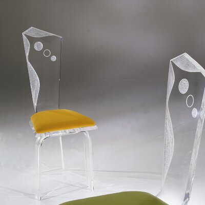 Infinity Acrylic Side Chair Upholstery: Moss