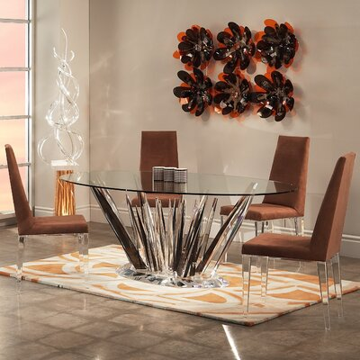 Image of Shahrooz Crystals 5 Piece Oval Dining Set (SHZ1131)