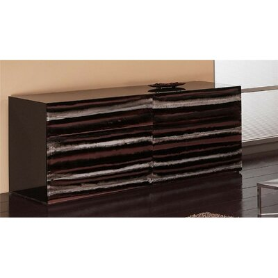 Contempo Acrylic 6 Drawer Double Dresser