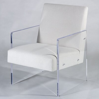 Block Arm Chair Upholstery: White