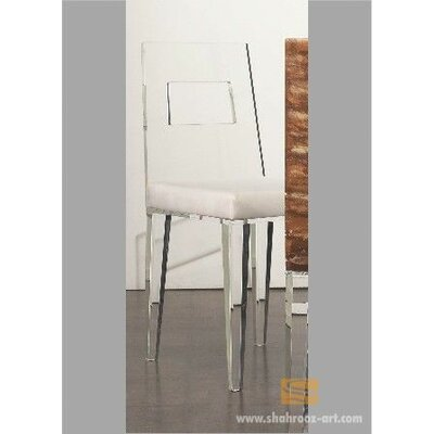 Contempo Acrylic Side Chair Upholstery: Brown, Finish: Clear