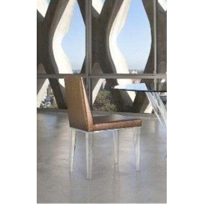 Lineair Acrylic Parsons Chair Upholstery: Brown
