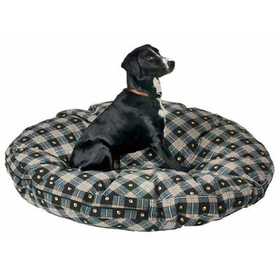 Supersoft Round Dog Pillow Color: Teal Paw Plaid, Size: Large (42 L x 42 W)