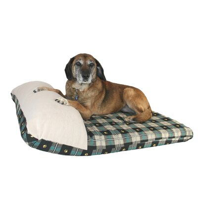 Ultimate Dog Pillow Size: Large (40 L x 30 W), Color: Teal Paw Plaid
