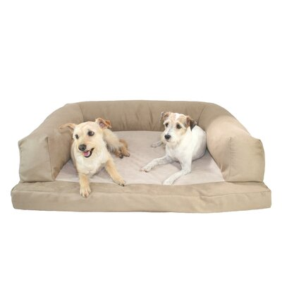 Baxter Couch Bolster Dog Bed Color: Poly-Suede Tan, Size: Extra Large (54 L x 34 W)