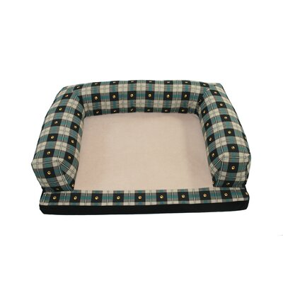 Baxter Couch Bolster Dog Bed Size: Medium (33 L x 25 W), Color: Teal Paw Plaid