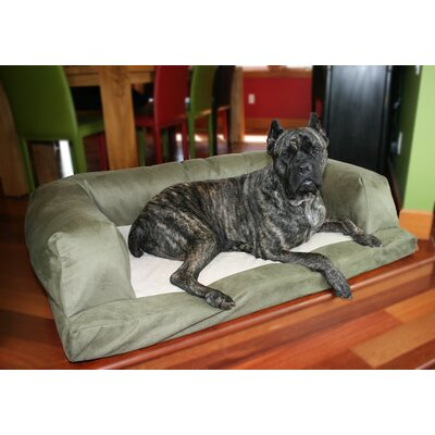 Baxter Couch Bolster Dog Bed Color: Poly-Suede Sage, Size: Extra Large (54 L x 34 W)