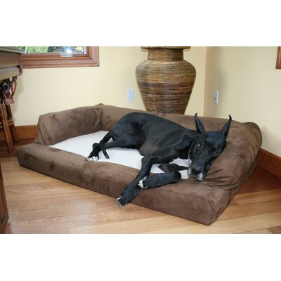 Baxter Couch Bolster Dog Bed Color: Poly-Suede Chocolate, Size: Medium (33 L x 25 W)