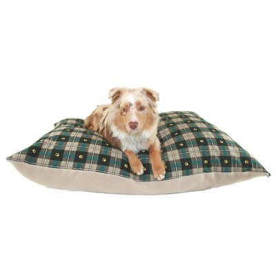 Supersoft Rectangular Ultra Sherpa Dog Pillow Color: Teal Paw Plaid, Size: Extra Large (48 L x 36 W)