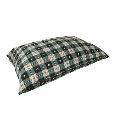 Supersoft Rectangular Max Dog Pillow Size: Medium (33 L x 25 W), Color: Teal Paw Plaid