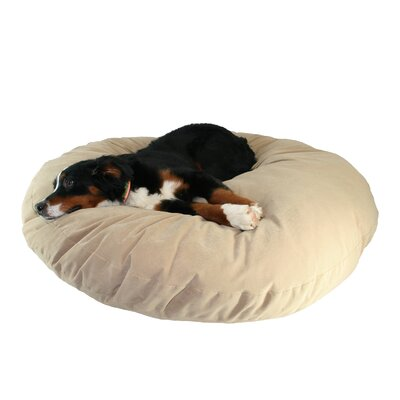 Supersoft Round Dog Pillow Color: Poly-Suede Tan, Size: Extra Large (52 L x 52 W)