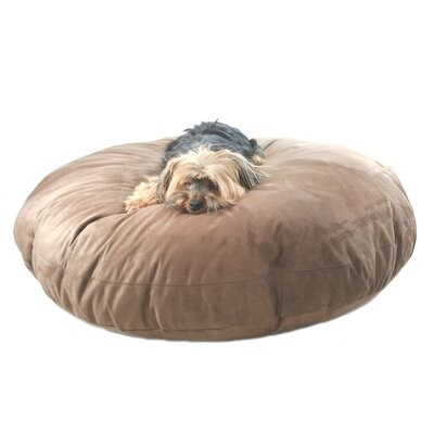 Supersoft Round Dog Pillow Size: Medium (27 L x 27 W), Color: Poly-Suede Chocolate