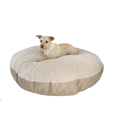 Supersoft Round Sherpa Dog Pillow Color: Poly-Suede Tan-Chocolate Berber, Size: Large (42 L x 42 W)