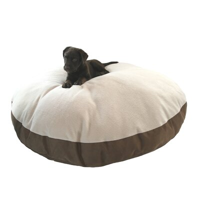 Supersoft Round Sherpa Dog Pillow Color: Poly-Suede Chocolate-Cream Sherpa, Size: Large (42 L x 42 W)
