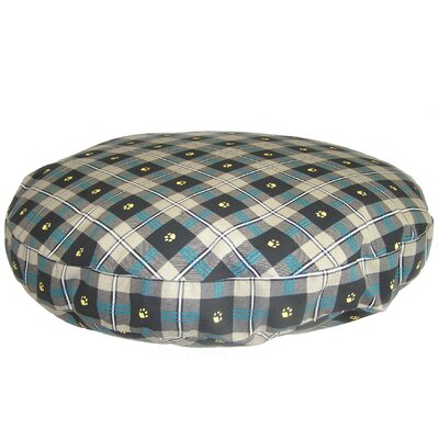 Supersoft Round Dog Pillow Size: Extra Large (52 L x 52 W), Color: Teal Paw Plaid