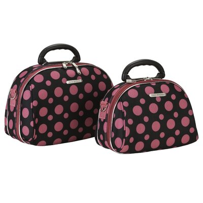 Luca Vergani 2 Piece Cosmetic Case Set - Color: Black / Pink Dot