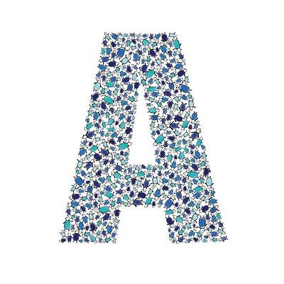 Lotsa Alphabet Art Penguins Paper Print Letter: A