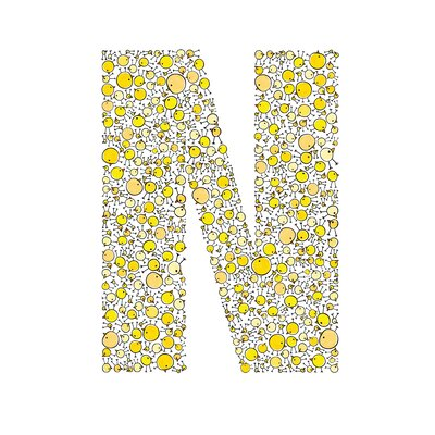 Lotsa Alphabet Art Chicks Paper Print Letter: N