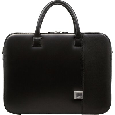 Box Calf Leather Small Zipper Briefcase in Black