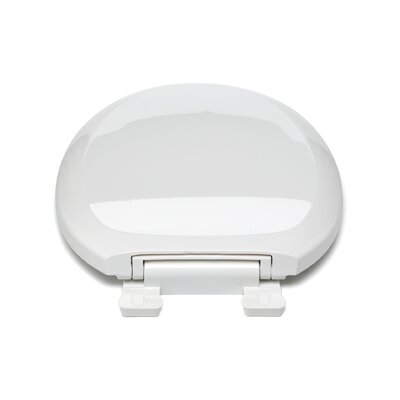 Ez Close Premium Plastic Round Toilet Seat Finish: Silver, Hinge Finish: Plastic