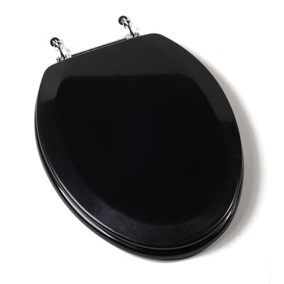 Deluxe Molded Elongated Toilet Seat Finish: Black, Hinge Finish: Chrome