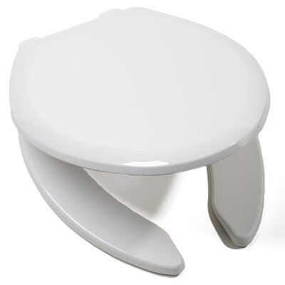 EZ Close Premium Plastic Open Front Elongated Toilet Seat Finish: White