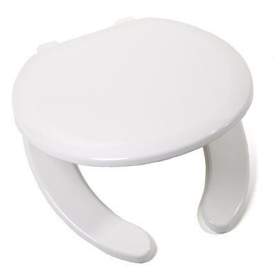 EZ Close Premium Plastic Open Front Round Toilet Seat Finish: White