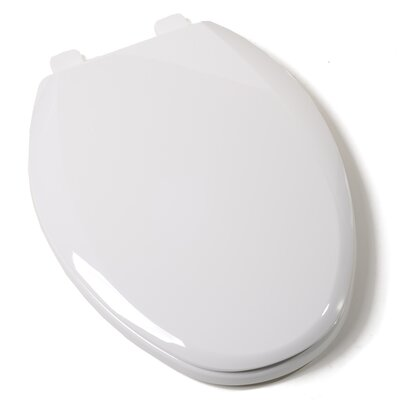 EZ Close Standard Plastic Elongated Toilet Seat Finish: White