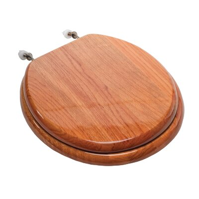 Designer Solid Round Wood Toilet Seat with Hinges Seat Finish: Oak, Hinge Finish: Brushed Nickel