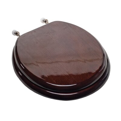 Designer Solid Round Wood Toilet Seat with Hinges Hinge Finish: Brushed Nickel, Seat Finish: Dark Brown