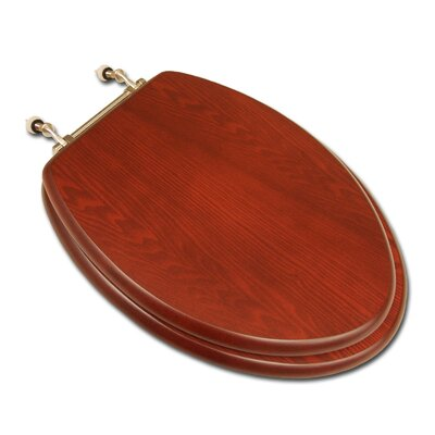 Decorative Wood Elongated Toilet Seat Hinge Finish: Brushed Nickel, Seat Finish: American Cherry