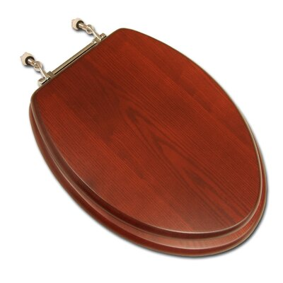 Decorative Wood Elongated Toilet Seat Hinge Finish: Brushed Nickel, Seat Finish: Dark Oak