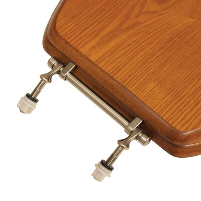 Decorative Wood Elongated Toilet Seat Hinge Finish: Brushed Nickel, Seat Finish: Light Oak