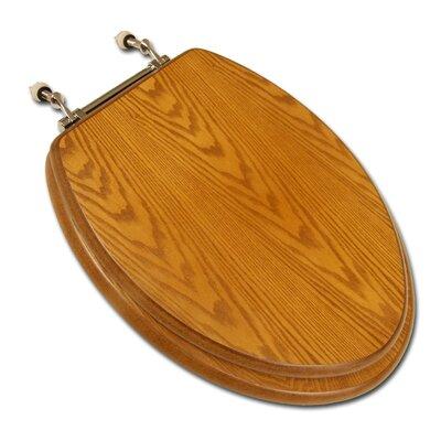 Decorative Wood Elongated Toilet Seat Hinge Finish: Chrome, Seat Finish: Dark Oak