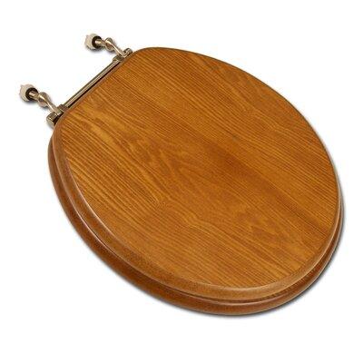 Decorative Front Wood Round Toilet Seat Hinge Finish: Brushed Nickel, Seat Finish: Dark Oak