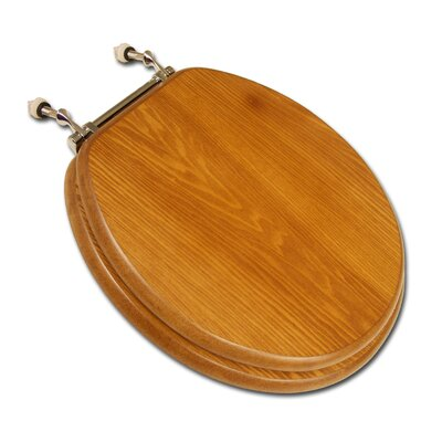 Decorative Front Wood Round Toilet Seat Hinge Finish: Polished Brass, Seat Finish: Light Oak