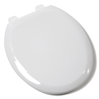 Ez Close Premium Plastic Round Toilet Seat Finish: White, Hinge Finish: Plastic