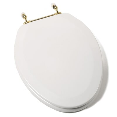 Deluxe Molded Wood Elongated Toilet Seat Hinge Finish: Brass
