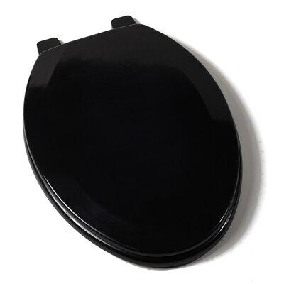 Deluxe Molded Wood Elongated Toilet Seat Finish: Black