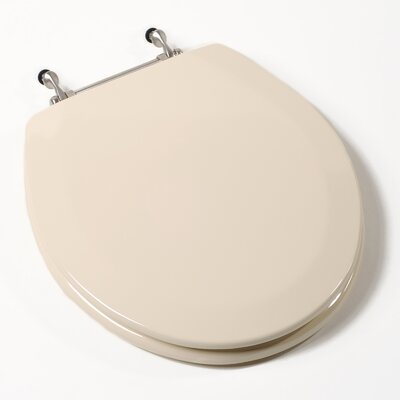 Deluxe Molded Wood Round Toilet Seat Finish: Bone, Hinge Finish: Brushed Nickel