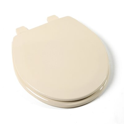 Deluxe Molded Wood Round Toilet Seat Finish: White, Hinge Finish: White and Chrome Combination