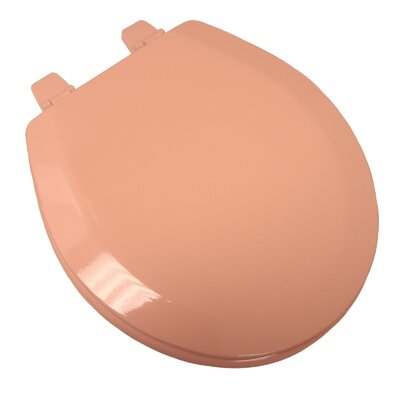 Deluxe Molded Wood Round Toilet Seat Finish: Venetian Pink, Hinge Finish: Plastic