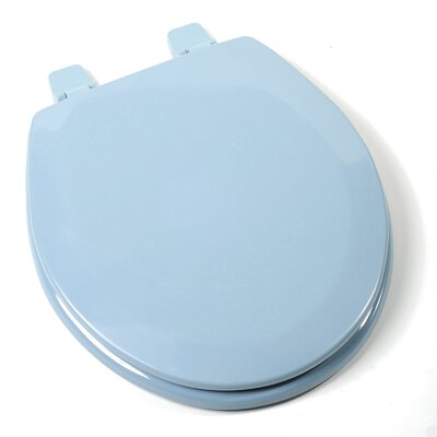 Deluxe Molded Wood Round Toilet Seat Finish: Regency Blue, Hinge Finish: Plastic