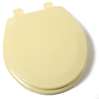 Deluxe Molded Wood Round Toilet Seat Finish: Citron Yellow, Hinge Finish: Plastic