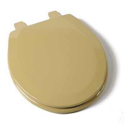 Deluxe Molded Wood Round Toilet Seat Finish: Harvest Gold, Hinge Finish: Plastic