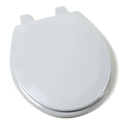 Deluxe Molded Wood Round Toilet Seat Finish: Silver, Hinge Finish: Plastic