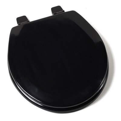 Deluxe Molded Wood Round Toilet Seat Finish: Black, Hinge Finish: Plastic