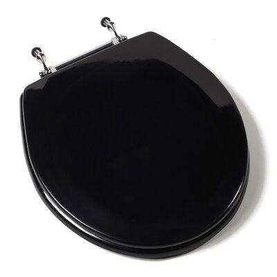 Deluxe Molded Wood Round Toilet Seat Finish: Black, Hinge Finish: Chrome